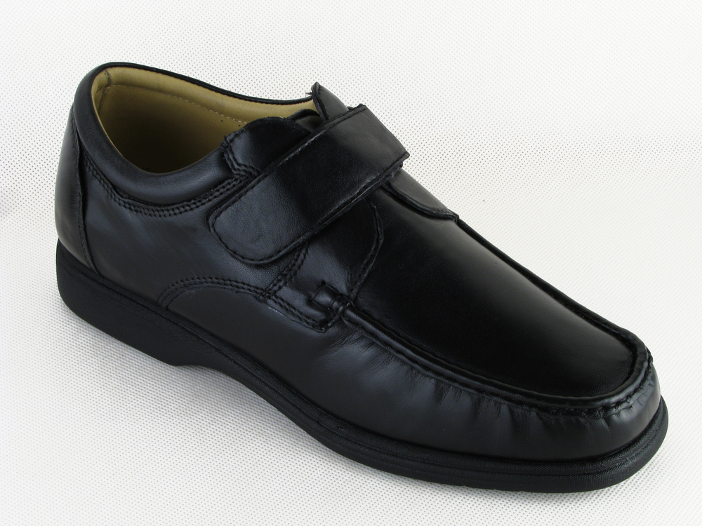 mens wide fitting velcro casual leather shoes by luca